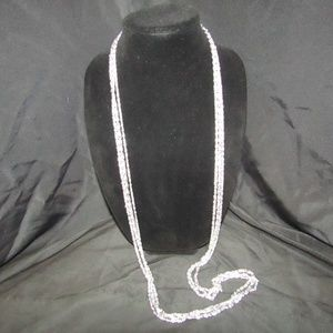 Jewelry - Vintage tri-strand silver tone chain necklace